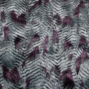 Aubergine Violet Gray Faux Feathered Fur Fabric