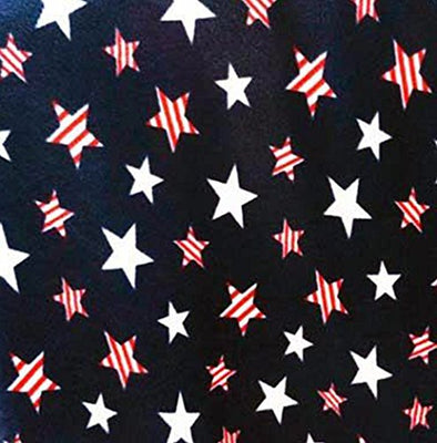 Navy American Patriotic Stars Allover Fleece Fabric