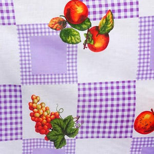 Fruits on Checkered Poly Cotton Fabric