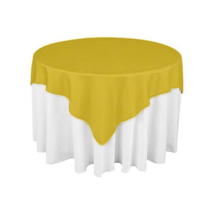 Gold Square Polyester Overlay Tablecloth 60