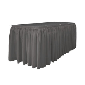 14 Ft. x 29 in. Charcoal Accordion Pleat Polyester Table Skirt