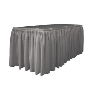 14 Ft. x 29 in. Dark Grey Accordion Pleat Polyester Table Skirt