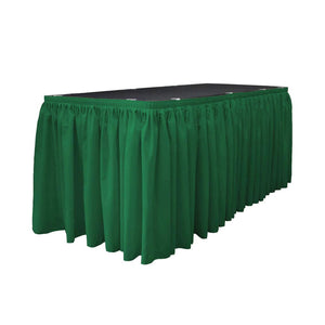 14 Ft. x 29 in. Emerald Green Accordion Pleat Polyester Table Skirt