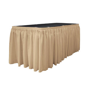 14 Ft. x 29 in. Khaki Accordion Pleat Polyester Table Skirt
