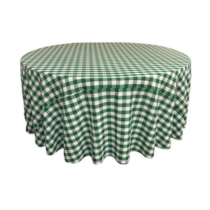 Hunter Green Polyester Checkered Round 108""