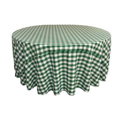 Hunter Green Polyester Checkered Round 108