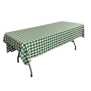 "White Hunter Green Gingham Checkered Polyester Rectangular Tablecloth 60"" x 108"""