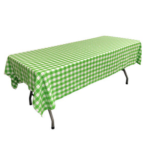 "White Lime Gingham Checkered Polyester Rectangular Tablecloth 60"" x 108"""