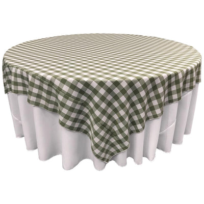 White Apple Green Checkered Square Overlay Tablecloth Polyester 85