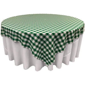 "White Hunter Green Checkered Square Overlay Tablecloth Polyester 60"" x 60"""