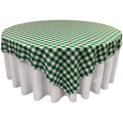 White Hunter Green Checkered Square Overlay Tablecloth Polyester 85