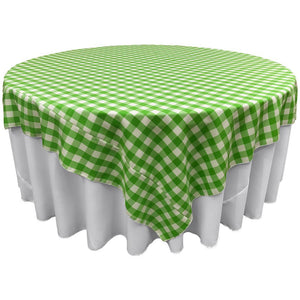"White Lime Checkered Square Overlay Tablecloth Polyester 60"" x 60"""