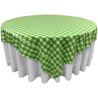 White Lime Checkered Square Overlay Tablecloth Polyester 85