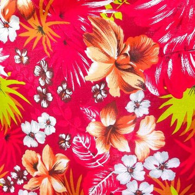 Hawaiian Floral Red Poly Cotton Fabric