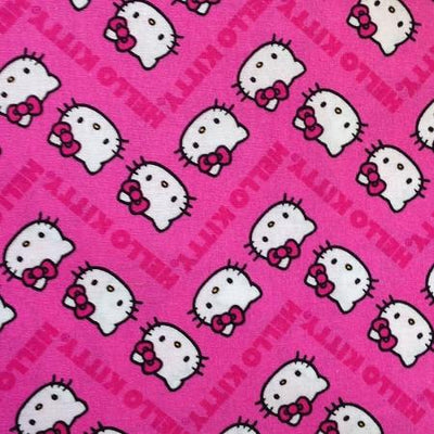 Sanrio Hello Kitty Chevron Pink 100% Cotton Print Fabric, 45