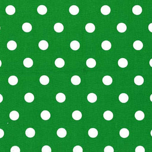 "1"" One Inch White Polka Dot on Green Poly Cotton Fabric"