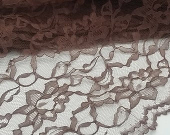 Brown Floral Raschel Lace Fabric