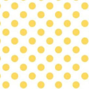 "1"" One Inch Yellow Polka Dot on White Poly Cotton Fabric"