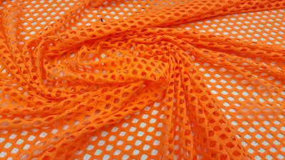 Neon Orange Mini Fishnet with Nylon Spandex Fabric