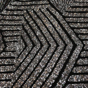 Black Silver Bombshell Stretch Sequin Fabric
