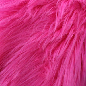 Fuschia Faux Fake Fur Solid Shaggy Long Pile Fabric