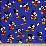 Disney Mickey Mouse Packed on Blue 100% Cotton Fabric