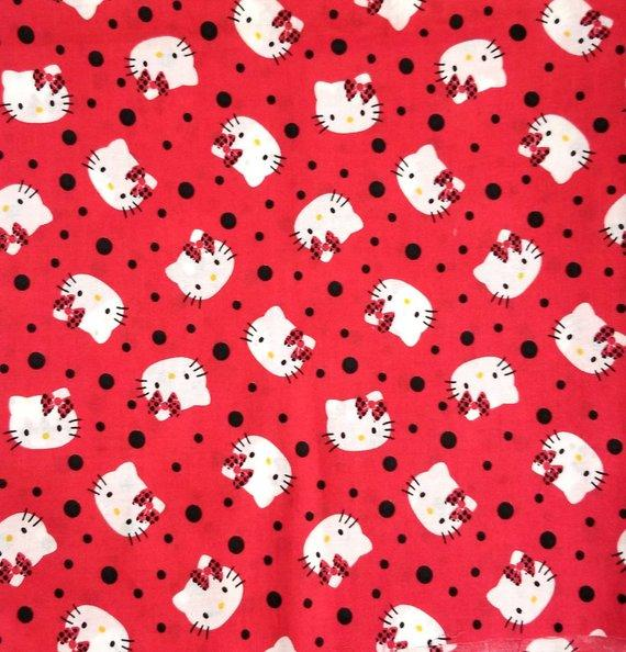 Hello Kitty Heads Toss Red 100% Cotton Fabric