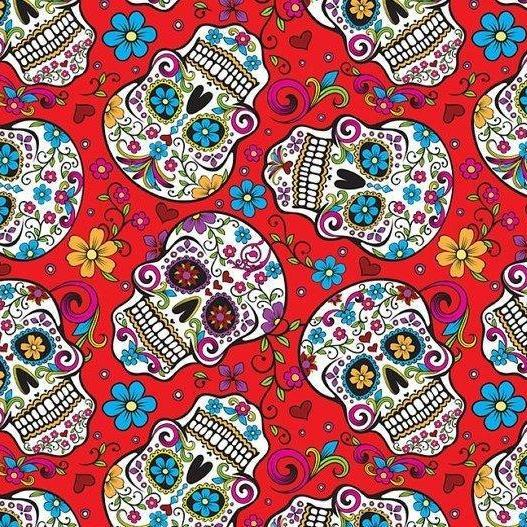 Skulls Floral on Red 100% Cotton Fabric