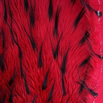 Black Red Faux Fur Two Tone Spiked Shaggy Long Pile Fabric
