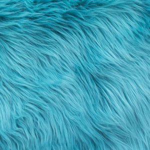 Aqua Faux Fake Fur Solid Shaggy Long Pile Fabric