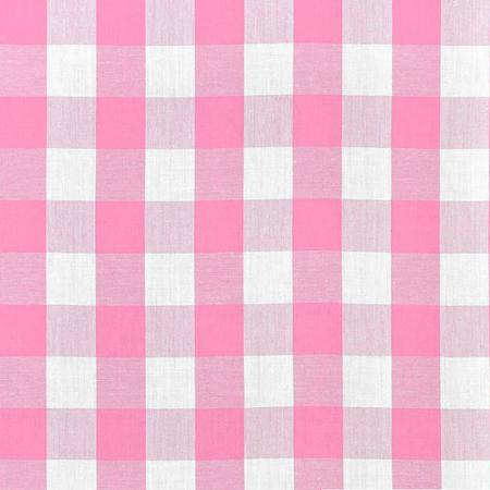 "Pink Checkered Gingham 1"" Poly Cotton Fabric"