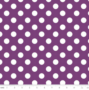 "1"" One Inch White Polka Dot on Purple Poly Cotton Fabric"