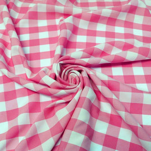 "1"" inch Fuchsia White Checkered Gingham Polyester Poplin Fabric"