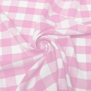 "1"" inch Pink White Checkered Gingham Polyester Poplin Fabric"