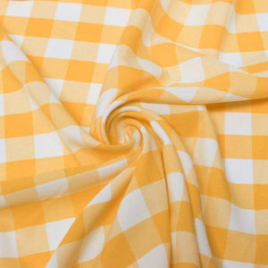 "1"" inch Tangerine White Checkered Gingham Polyester Poplin Fabric"