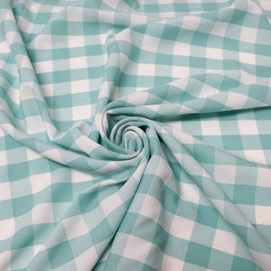 "1"" inch Aqua White Checkered Gingham Polyester Poplin Fabric"