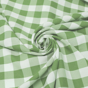 "1"" inch Apple Green White Checkered Gingham Polyester Poplin Fabric"