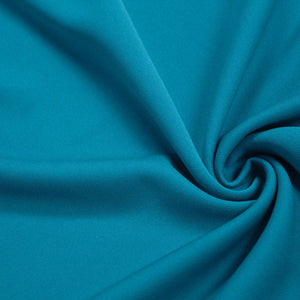 Teal Blue Solid Stretch Scuba Double Knit Fabric