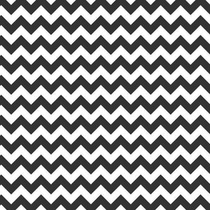 "1"" Black and White Chevron Poly Cotton Fabric"