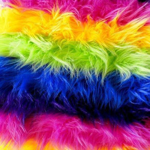 Rainbow Faux Fur Striped Long Pile Fabric