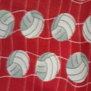 Volleyball Red Premium Anti Pill Print Fleece Fabric