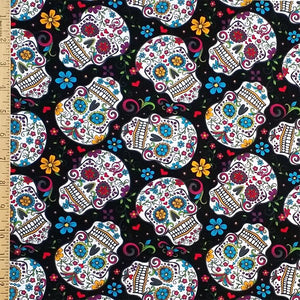 Skulls Floral on Black 100% Cotton Fabric