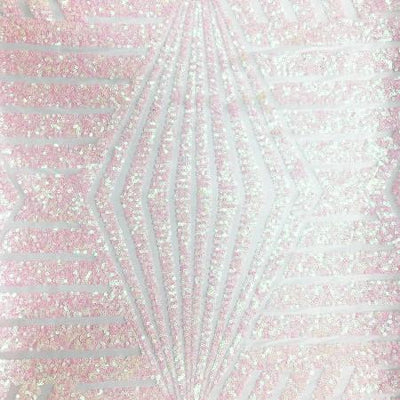 Light Pink and White Bombshell Stretch Sequin Fabric