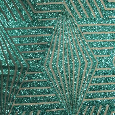 Aqua Teal Bombshell Stretch Sequin Fabric