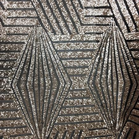 Black Gold Bombshell Stretch Sequin Fabric