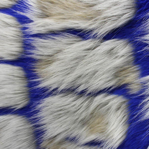 Blue Gray Bricks Faux Fur Long Pile Fabric