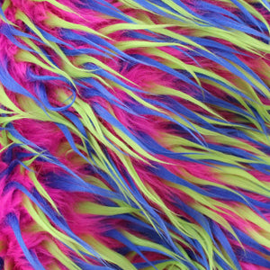 Blue Yellow on Pink Three Tone Spiked Fabric