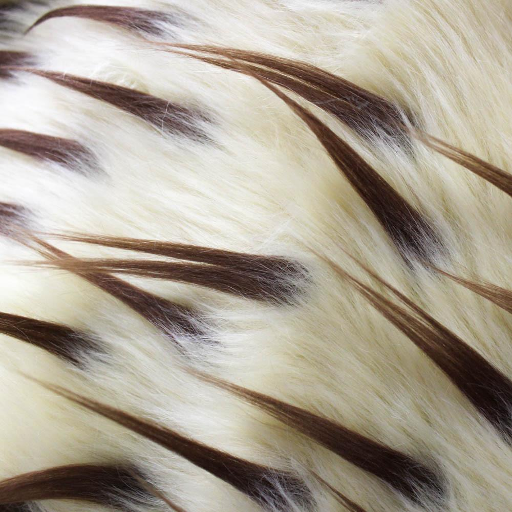Brown Beige Faux Fur Two Tone Spiked Shaggy Long Pile Fabric