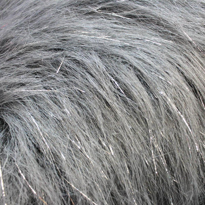 Grey Glitter Shaggy Faux Fur Fabric