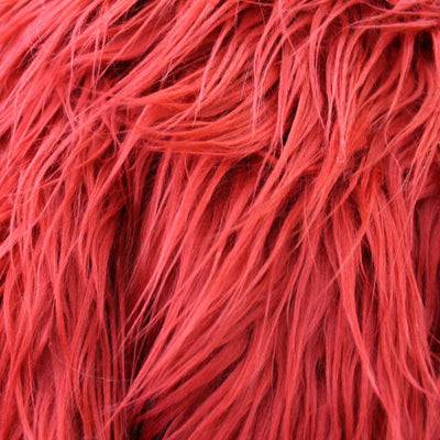 Red Faux Fake Mongolian Animal Fur Fabric Long Pile